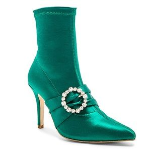 RAYE Satin Rhinestone Buckle Bette Sock Boot
